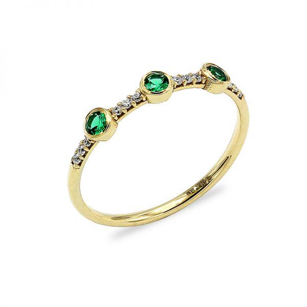 Jade Taşlı Altın Yüzük