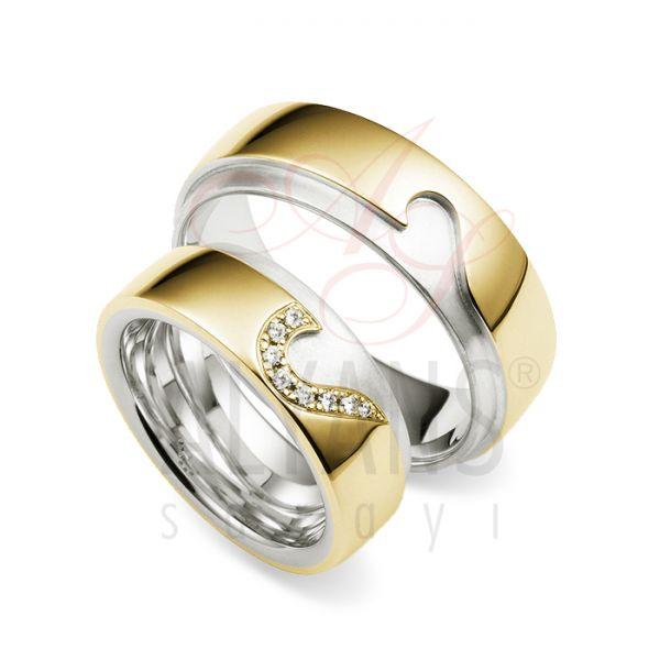 Bayan Altın Erkek Gümüş Alyans