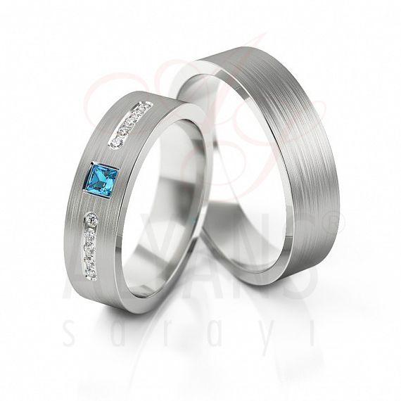 Aqua Marin Taşlı Gümüş Alyans