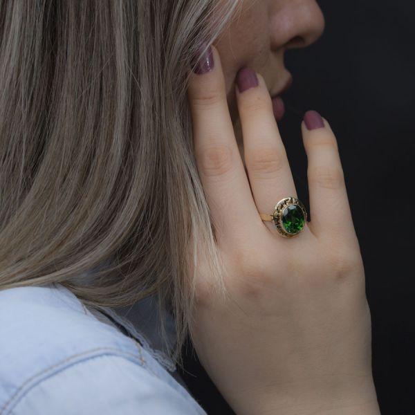 Doğal Yeşil Jade Taşlı Altın Yüzük