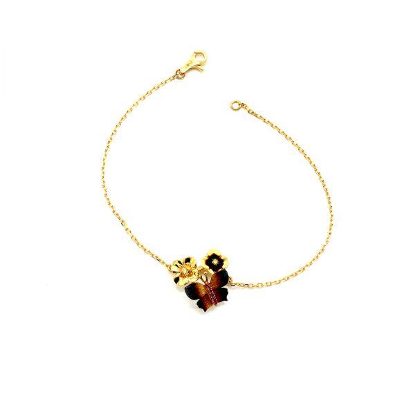 22 Ayar Altın Kelebek Çiçek Bileklik