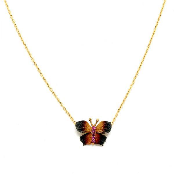 22 Ayar Altın Kelebek Kolye