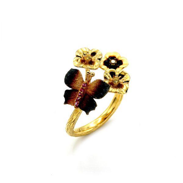 22 Ayar Altın Çiçek Kelebek Yüzük