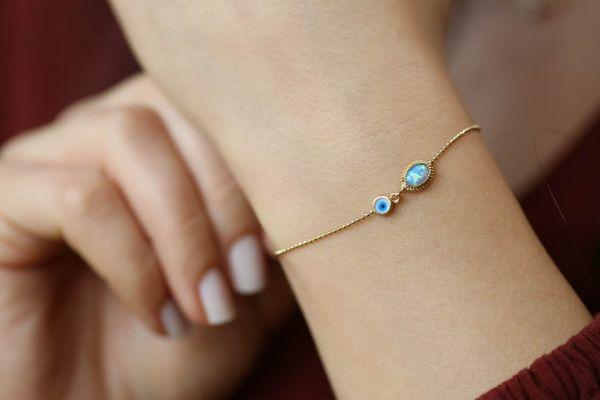 Opal Taşlı Nazarlık Altın Bileklik